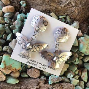 Navajo Sterling Silver Thunderbird Dangle Earrings